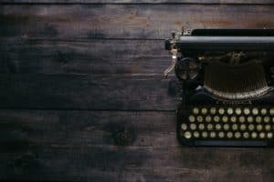blogging - old typewriter on wood